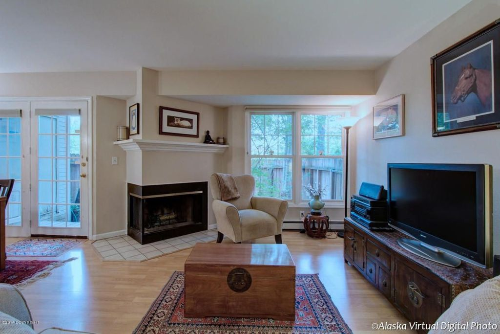 Traditional Living Room with insert fireplace, Standard height, Fireplace, Hardwood floors, metal fireplace