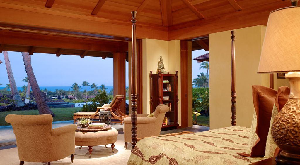 Master Bedroom with Cathedral ceiling, Built-in bookshelf, Concrete tile , Columns, Exposed beam