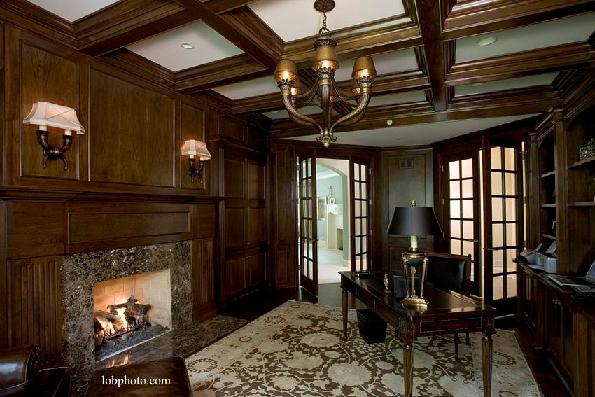 Traditional Home Office with Wall sconce, Built-in bookshelf, French doors, Hardwood floors, Exposed beam, Box ceiling