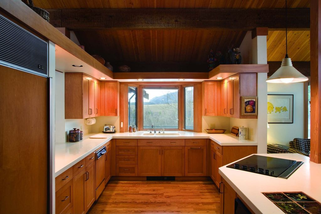 Modern Kitchen with Solid surface countertop, Columns, Framed Partial Panel, Double sink, Hardwood floors, Pendant light