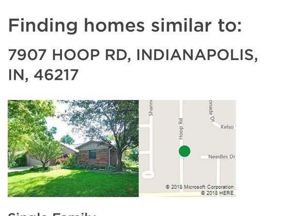 3 bed 2 bath Single Family at 7907 HOOP RD INDIANAPOLIS, IN, 46217 is for sale at 157k - google static map