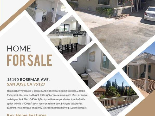 3 bed 2 bath Single Family at 15190 Rosemar Ave San Jose, CA, 95127 is for sale at 849k - 1 of 19