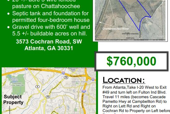 2 bed null bath Vacant Land at 3573 Cochran Rd SW Atlanta, GA, 30331 is for sale at 760k - google static map