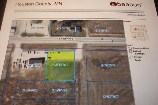 null bed null bath Vacant Land at 9TBD Cedar St Houston, MN, 55943 is for sale at 54k - google static map