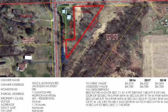 null bed null bath Vacant Land at 115 HATCH RD HORTON, MI, 49246 is for sale at 16k - google static map